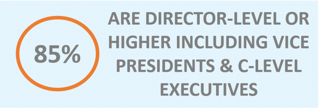 85% are director-level or higher including vice presidents & c-level executives.