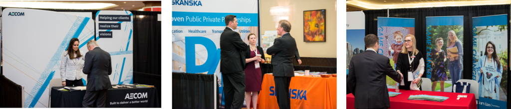 exhibitor booths at a conference