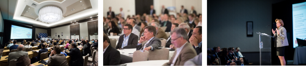 conference attendees listening intently